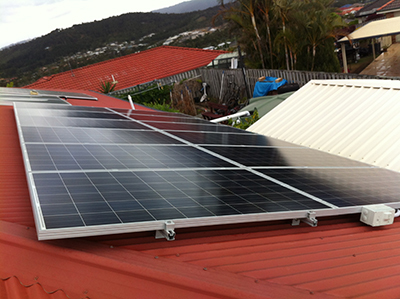solar panels on roof red colorbond